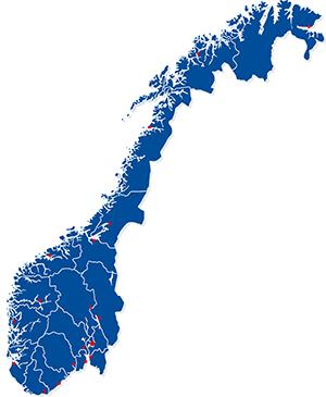Illustrasjonskart over Norge.